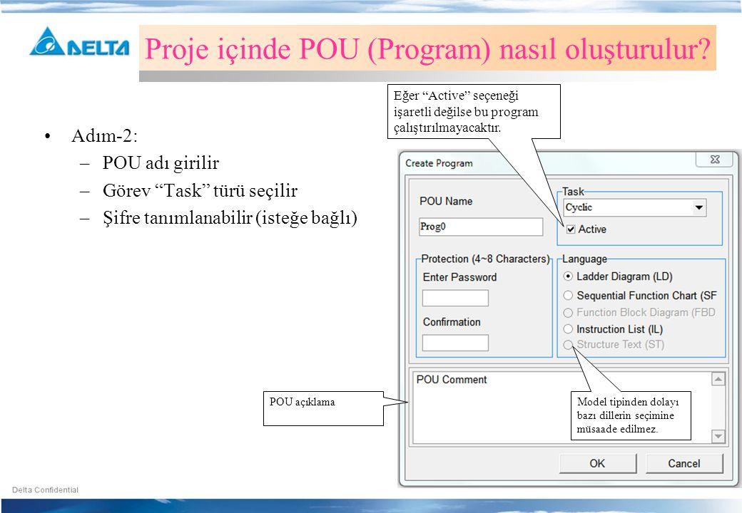 Proje içinde POU (Program) nasıl oluşturulur