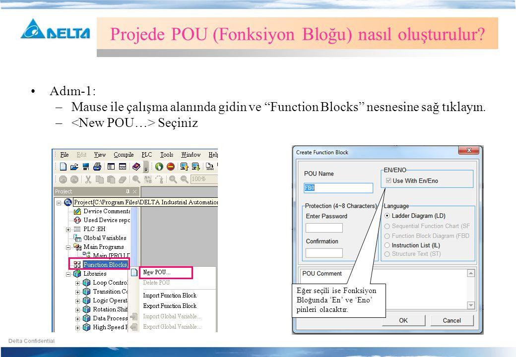 Projede POU (Fonksiyon Bloğu) nasıl oluşturulur