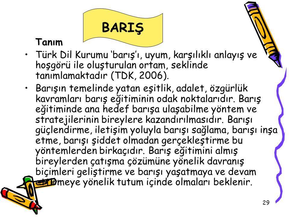 BARIŞ Tanım. Türk Dil Kurumu 'barış'ı, uyum, karşılıklı anlayış ve hoşgörü ile oluşturulan ortam, seklinde tanımlamaktadır (TDK, 2006).