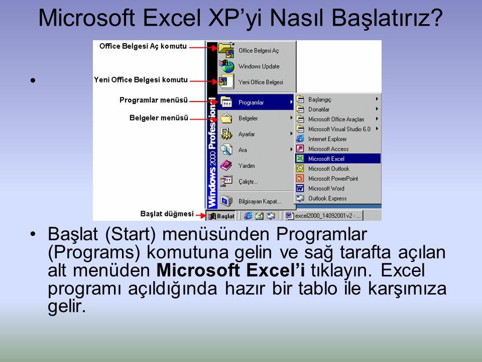 Microsoft Excel XP'yi Nasıl Başlatırız