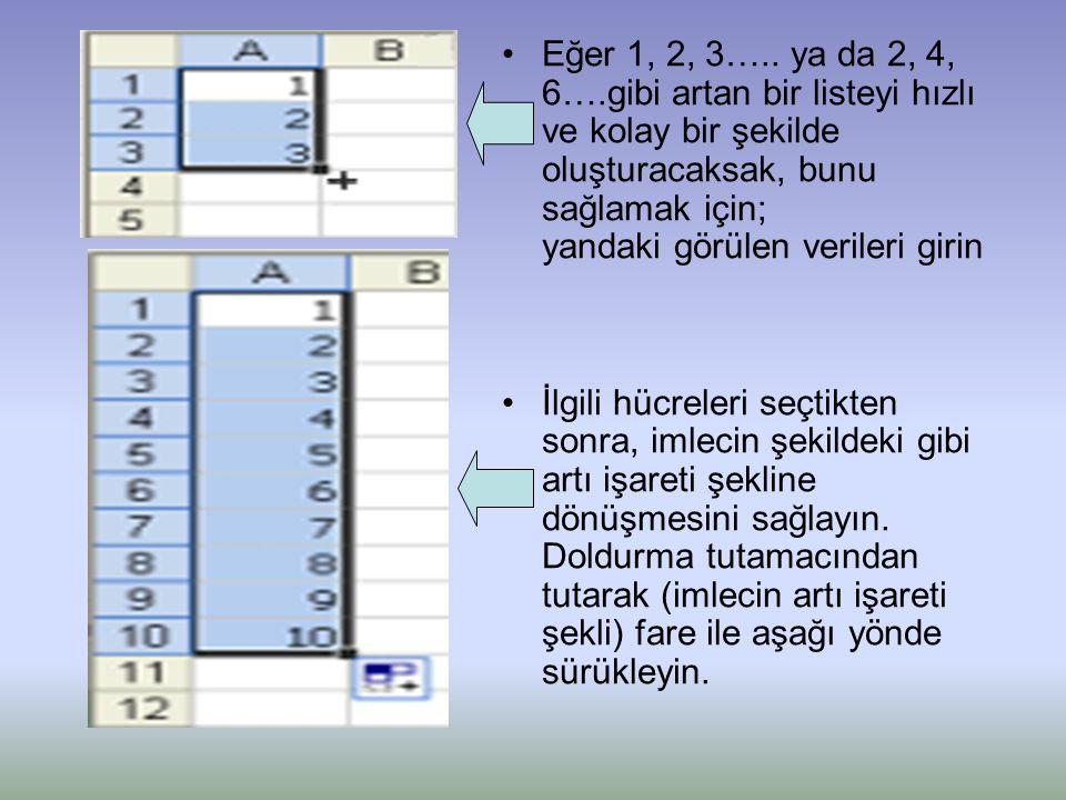 Eğer 1, 2, 3….. ya da 2, 4, 6….gibi artan bir listeyi hızlı ve kolay bir şekilde oluşturacaksak, bunu sağlamak için; yandaki görülen verileri girin