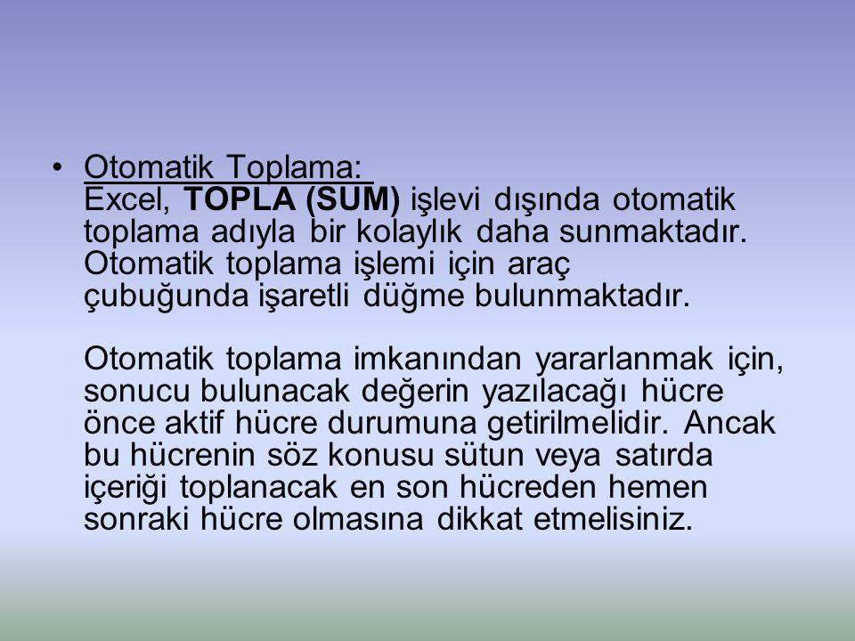 Otomatik Toplama: Excel, TOPLA (SUM) işlevi dışında otomatik toplama adıyla bir kolaylık daha sunmaktadır.
