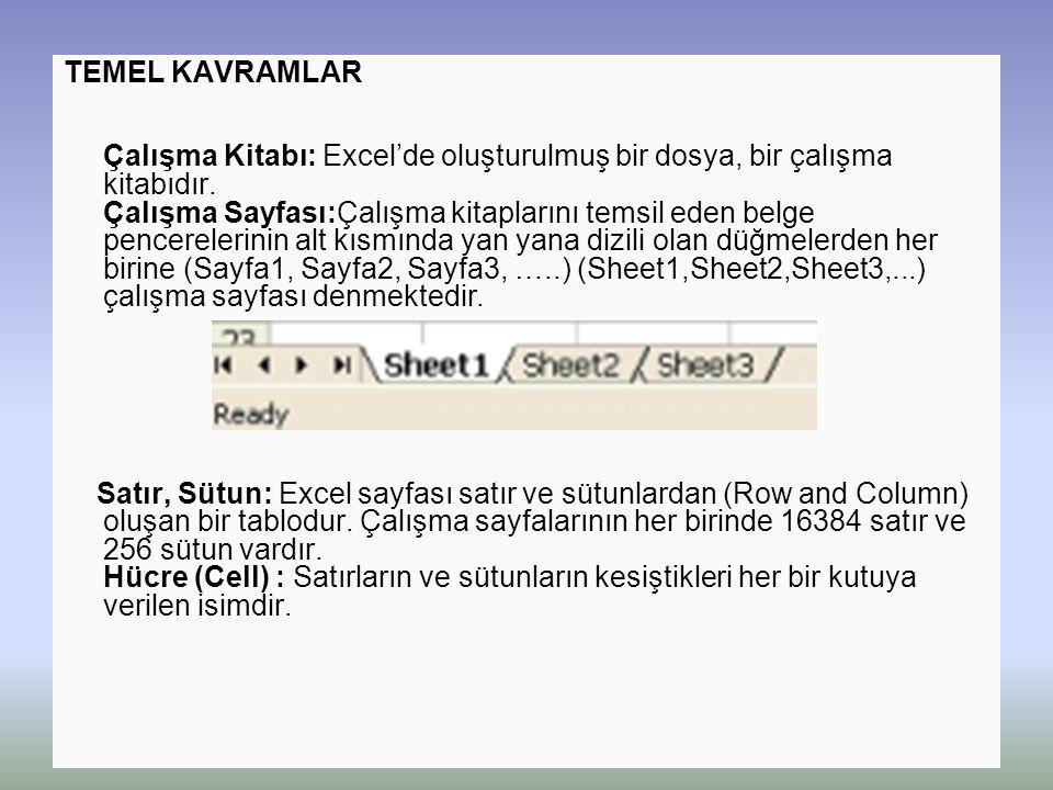 TEMEL KAVRAMLAR Çalışma Kitabı: Excel'de oluşturulmuş bir dosya, bir çalışma kitabıdır. Çalışma Sayfası:Çalışma kitaplarını temsil eden belge pencerelerinin alt kısmında yan yana dizili olan düğmelerden her birine (Sayfa1, Sayfa2, Sayfa3, …..) (Sheet1,Sheet2,Sheet3,...) çalışma sayfası denmektedir.