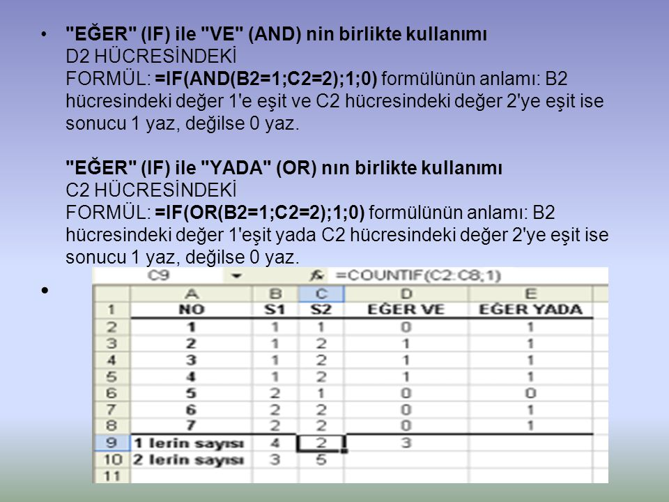 EĞER (IF) ile VE (AND) nin birlikte kullanımı D2 HÜCRESİNDEKİ FORMÜL: =IF(AND(B2=1;C2=2);1;0) formülünün anlamı: B2 hücresindeki değer 1 e eşit ve C2 hücresindeki değer 2 ye eşit ise sonucu 1 yaz, değilse 0 yaz.