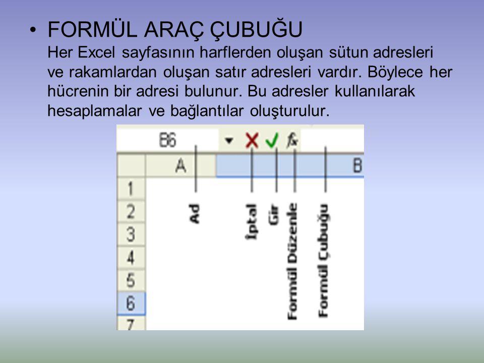 FORMÜL ARAÇ ÇUBUĞU Her Excel sayfasının harflerden oluşan sütun adresleri ve rakamlardan oluşan satır adresleri vardır.