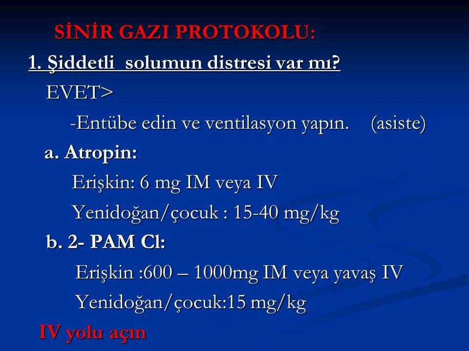 SİNİR GAZI PROTOKOLU: 1. Şiddetli solumun distresi var mı EVET> -Entübe edin ve ventilasyon yapın. (asiste)