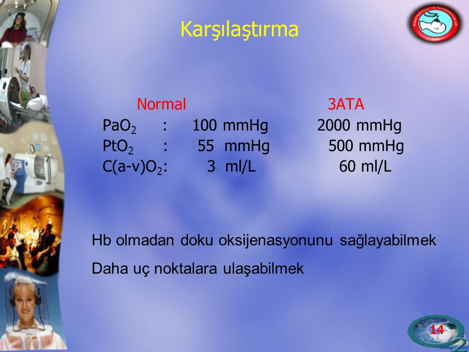 Karşılaştırma Normal 3ATA PaO2 : 100 mmHg 2000 mmHg