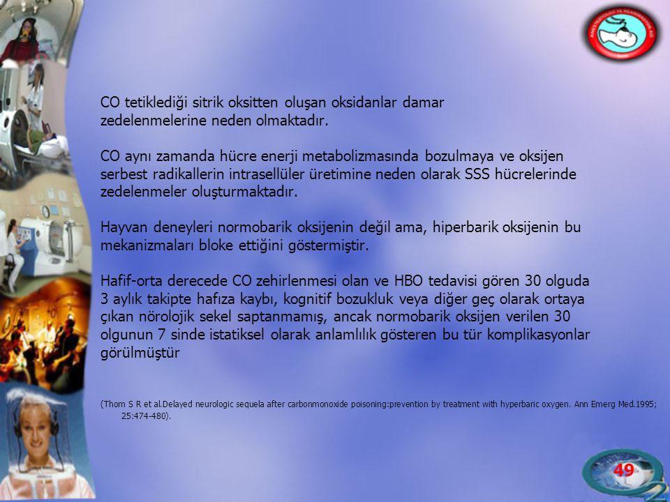CO tetiklediği sitrik oksitten oluşan oksidanlar damar