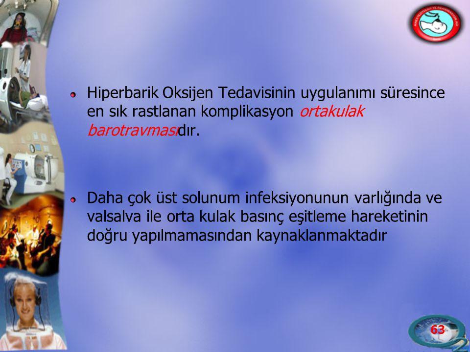 Hiperbarik Oksijen Tedavisinin uygulanımı süresince en sık rastlanan komplikasyon ortakulak barotravmasıdır.