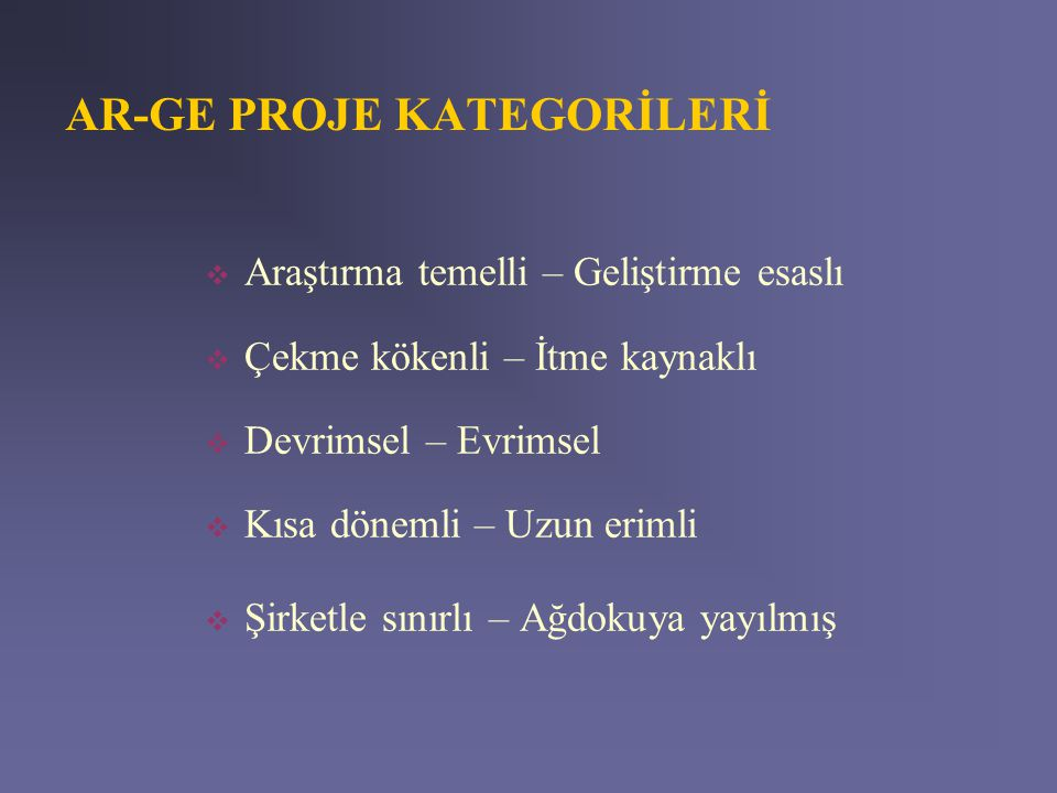 AR-GE PROJE KATEGORİLERİ