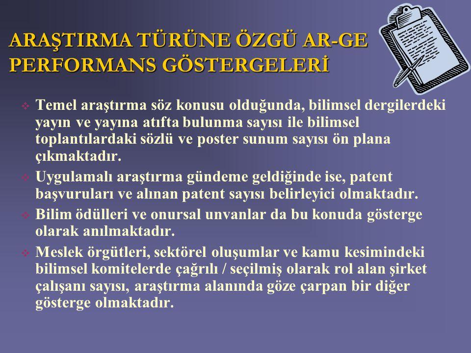 ARAŞTIRMA TÜRÜNE ÖZGÜ AR-GE PERFORMANS GÖSTERGELERİ