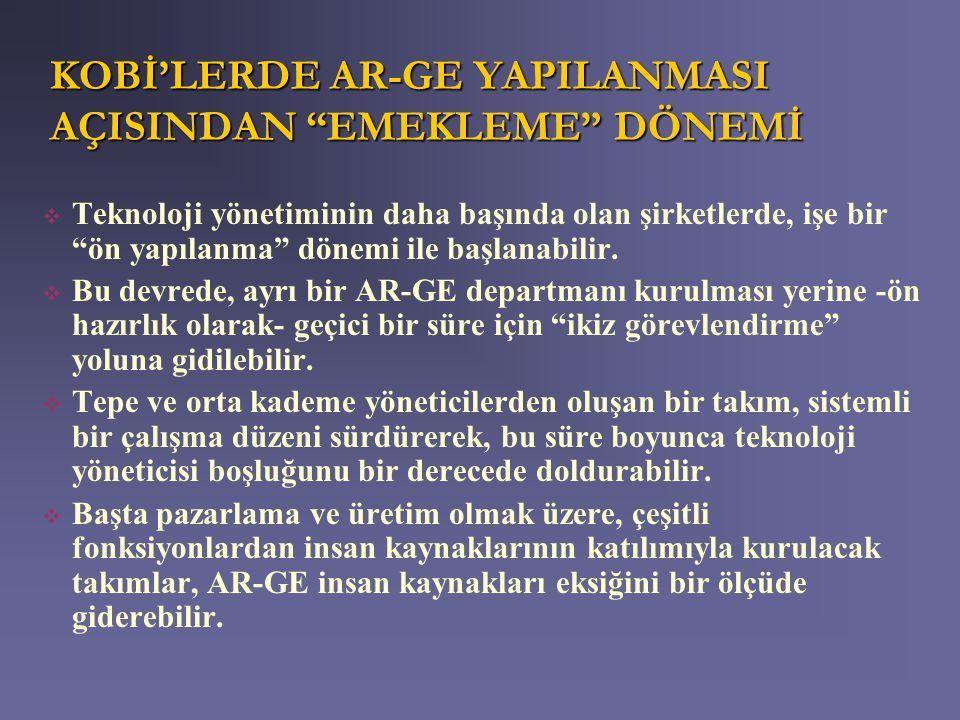 KOBİ'LERDE AR-GE YAPILANMASI AÇISINDAN EMEKLEME DÖNEMİ