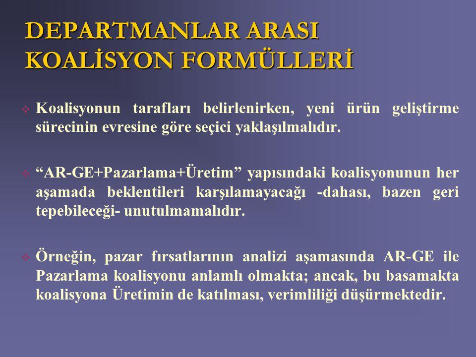 DEPARTMANLAR ARASI KOALİSYON FORMÜLLERİ