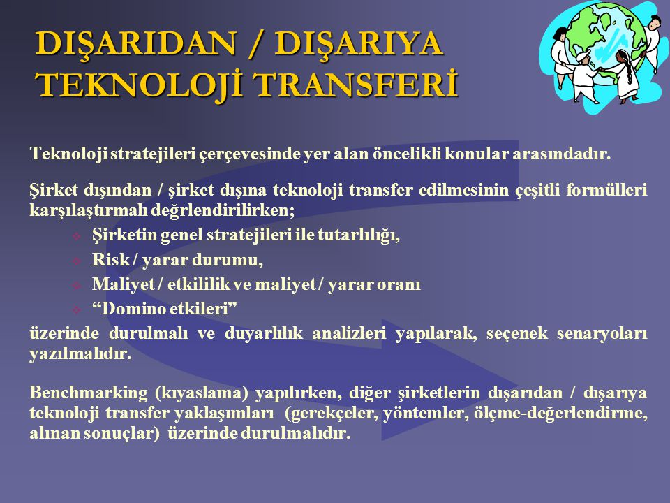 DIŞARIDAN / DIŞARIYA TEKNOLOJİ TRANSFERİ