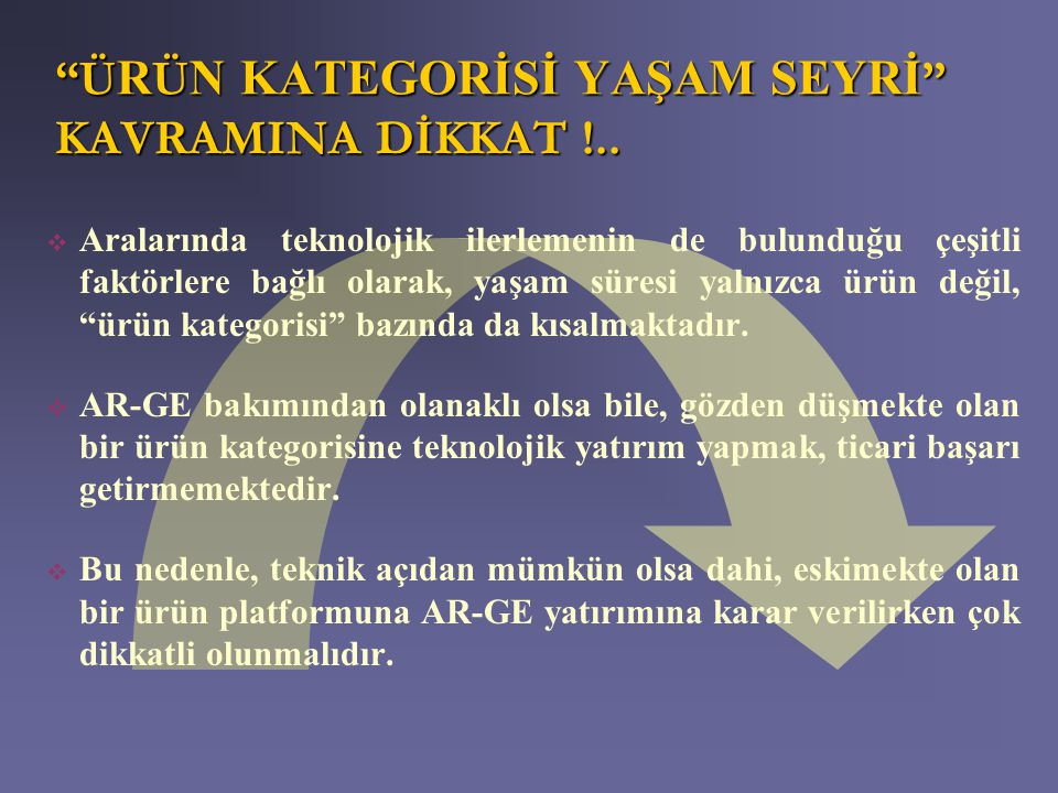 ÜRÜN KATEGORİSİ YAŞAM SEYRİ KAVRAMINA DİKKAT !..