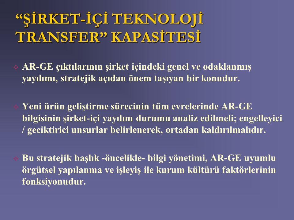 ŞİRKET-İÇİ TEKNOLOJİ TRANSFER KAPASİTESİ