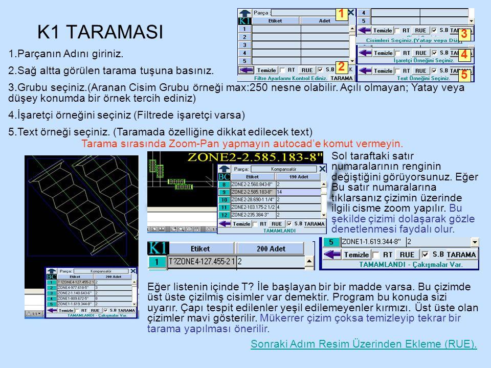 K1 TARAMASI 1 3 4 2 5 Parçanın Adını giriniz.