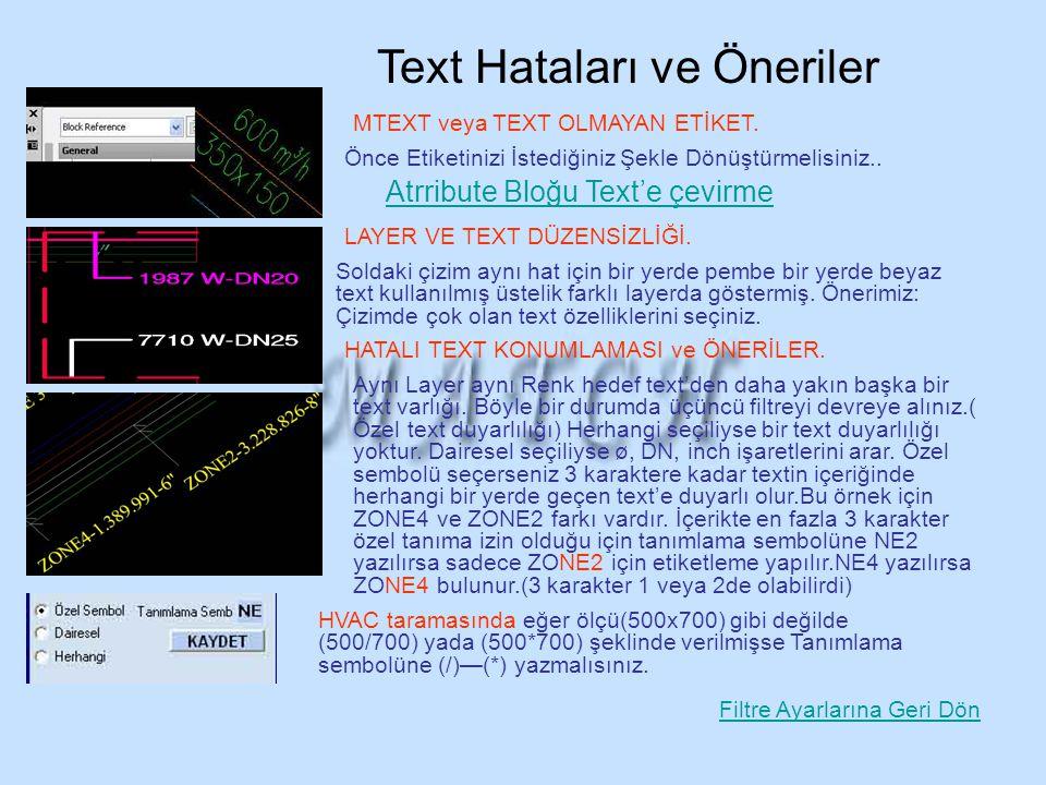 Text Hataları ve Öneriler