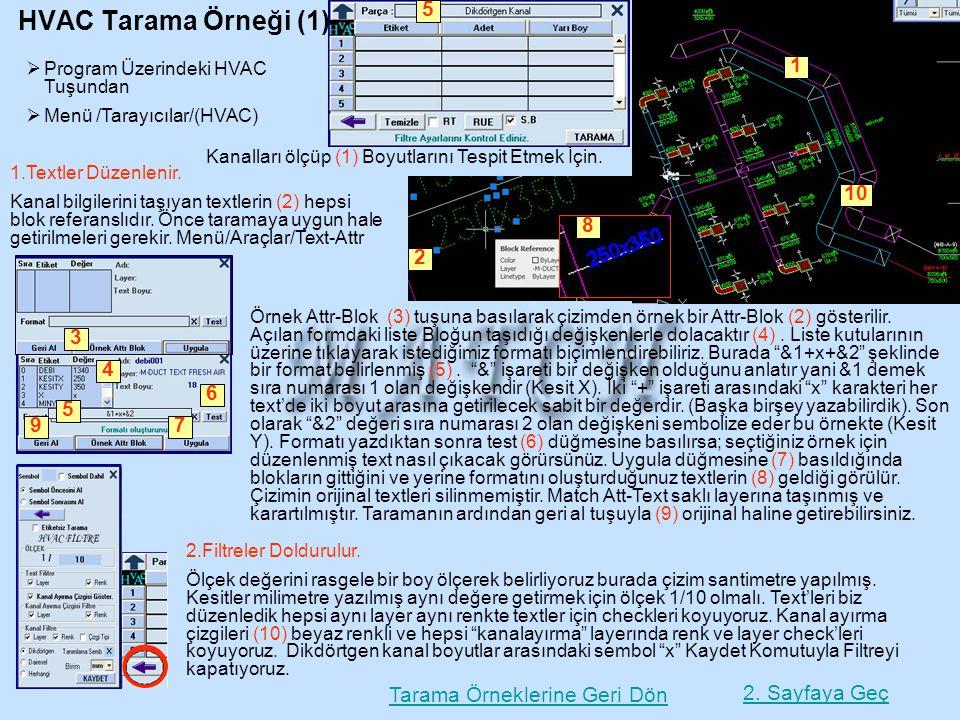 HVAC Tarama Örneği (1) 5. Program Üzerindeki HVAC Tuşundan. Menü /Tarayıcılar/(HVAC) 1. 3. 1. 2.