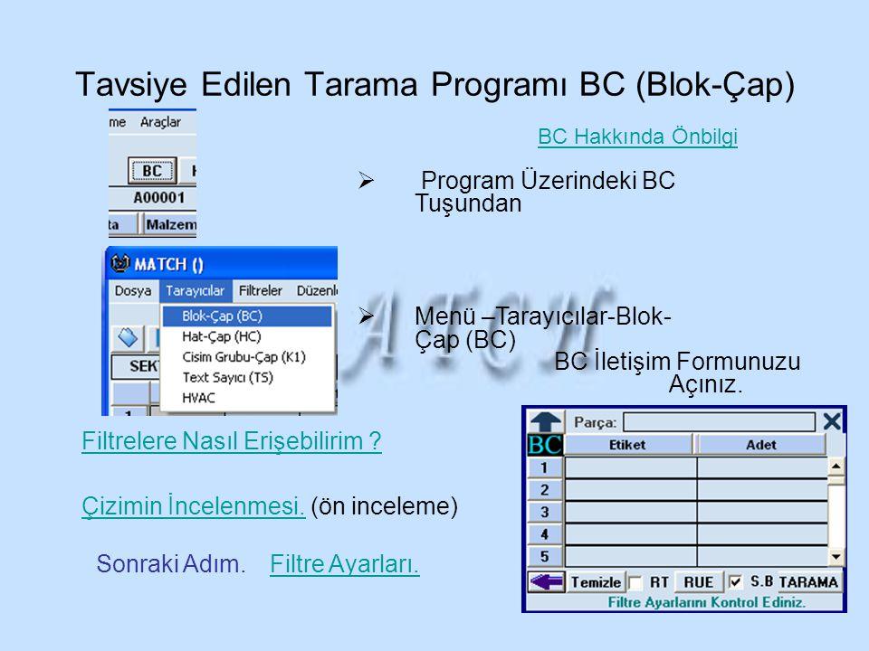 Tavsiye Edilen Tarama Programı BC (Blok-Çap)