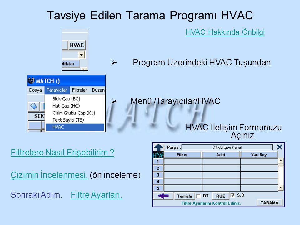 Tavsiye Edilen Tarama Programı HVAC
