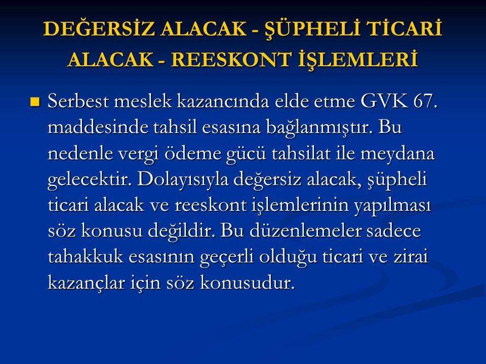DEĞERSİZ ALACAK - ŞÜPHELİ TİCARİ ALACAK - REESKONT İŞLEMLERİ