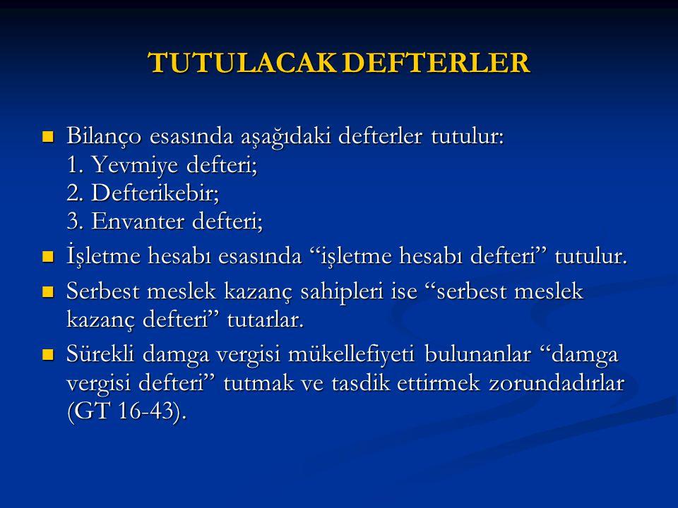 TUTULACAK DEFTERLER Bilanço esasında aşağıdaki defterler tutulur: 1. Yevmiye defteri; 2. Defterikebir; 3. Envanter defteri;