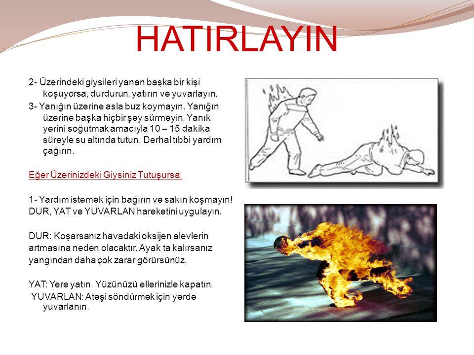 HATIRLAYIN 2- Üzerindeki giysileri yanan başka bir kişi koşuyorsa, durdurun, yatırın ve yuvarlayın.