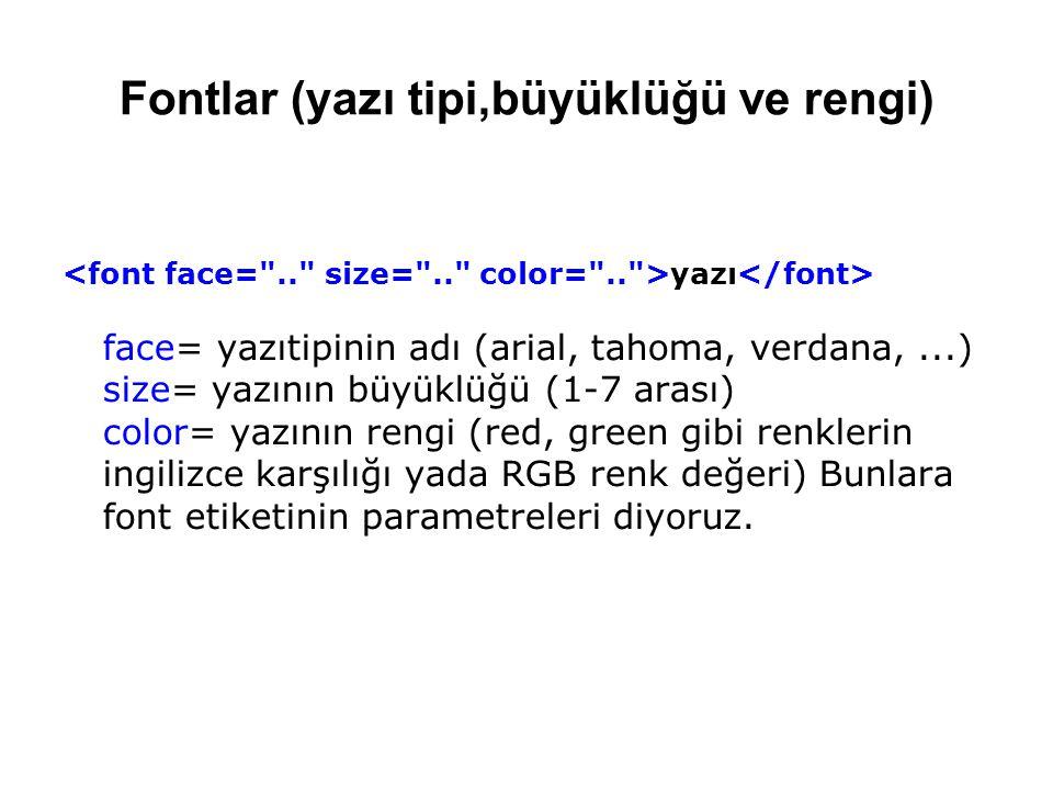 Fontlar (yazı tipi,büyüklüğü ve rengi)