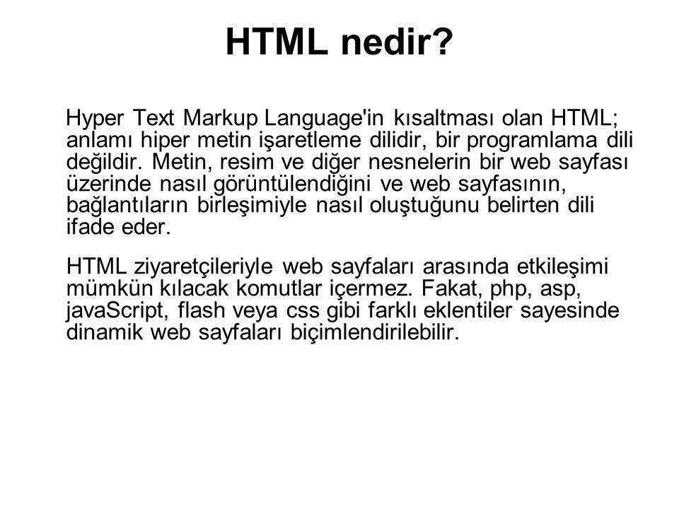 HTML nedir