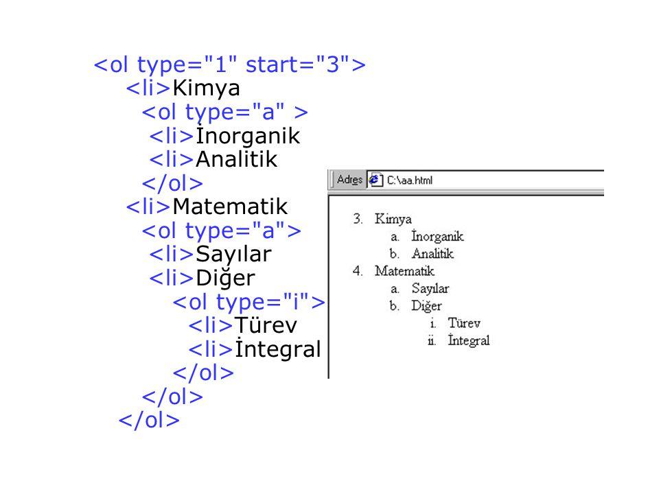<ol type= 1 start= 3 > <li>Kimya <ol type= a > <li>İnorganik <li>Analitik </ol> <li>Matematik <ol type= a > <li>Sayılar <li>Diğer <ol type= i > <li>Türev <li>İntegral </ol> </ol> </ol>