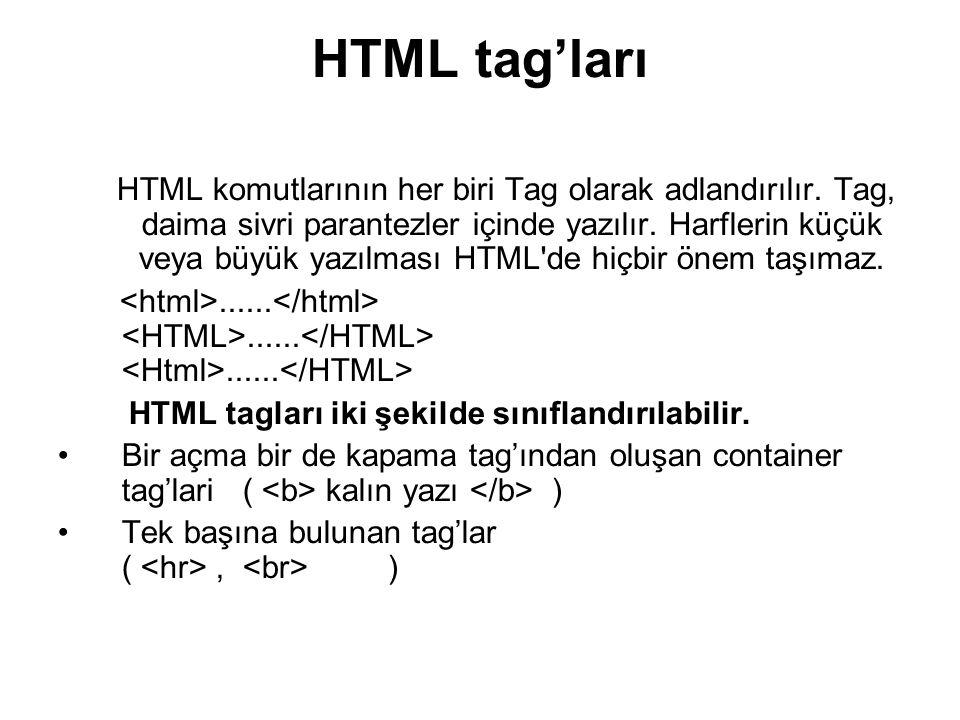 HTML tag'ları