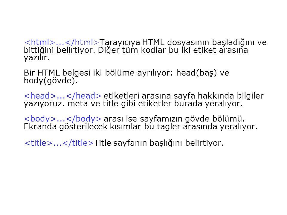 <html>...</html>Tarayıcıya HTML dosyasının başladığını ve bittiğini belirtiyor. Diğer tüm kodlar bu iki etiket arasına yazılır. Bir HTML belgesi iki bölüme ayrılıyor: head(baş) ve body(gövde). <head>...</head> etiketleri arasına sayfa hakkında bilgiler yazıyoruz. meta ve title gibi etiketler burada yeralıyor. <body>...</body> arası ise sayfamızın gövde bölümü. Ekranda gösterilecek kısımlar bu tagler arasında yeralıyor.