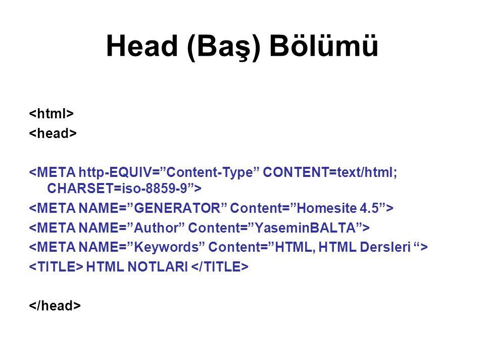 Head (Baş) Bölümü <html> <head>