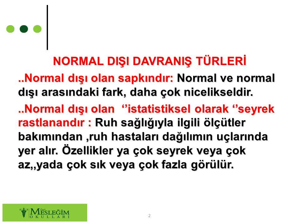 NORMAL DIŞI DAVRANIŞ TÜRLERİ