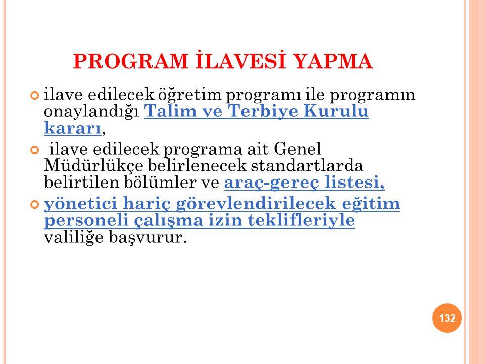 PROGRAM İLAVESİ YAPMA ilave edilecek öğretim programı ile programın onaylandığı Talim ve Terbiye Kurulu kararı,