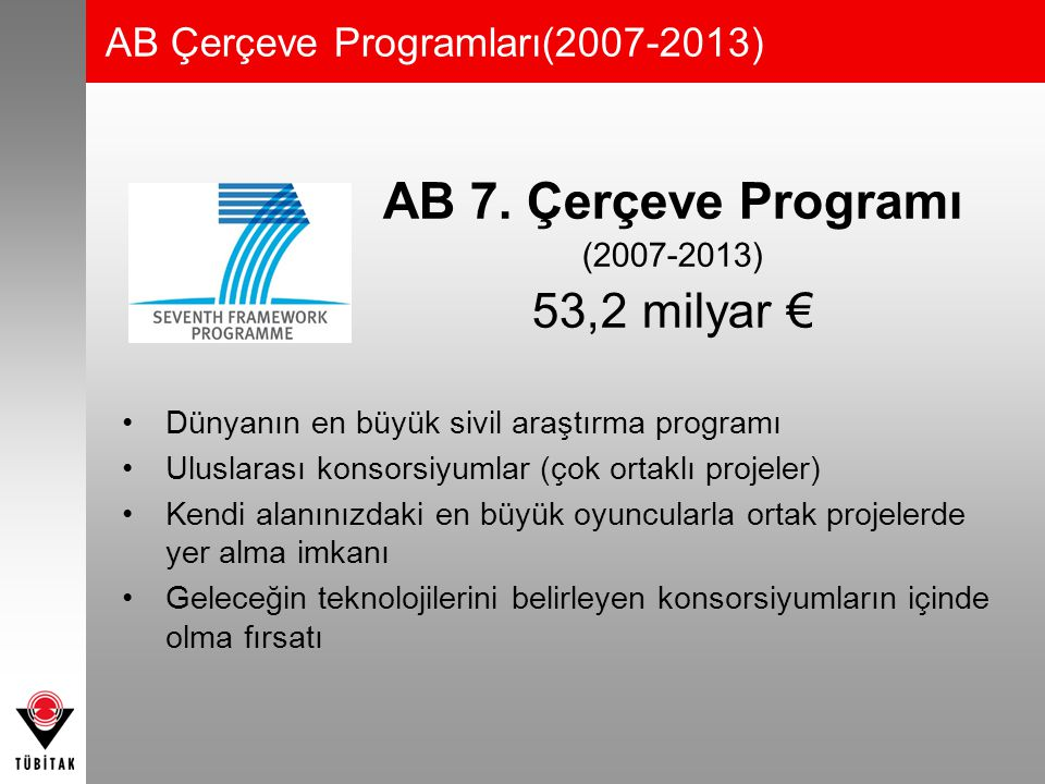 AB 7. Çerçeve Programı 53,2 milyar € AB Çerçeve Programları(2007-2013)