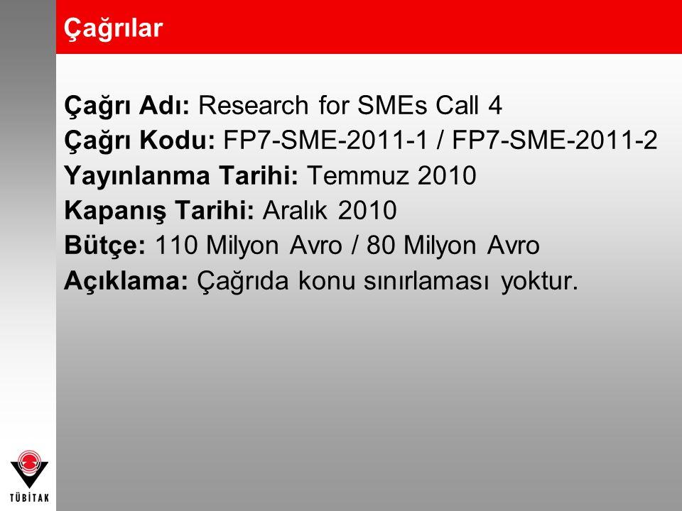 Çağrılar Çağrı Adı: Research for SMEs Call 4. Çağrı Kodu: FP7-SME-2011-1 / FP7-SME-2011-2. Yayınlanma Tarihi: Temmuz 2010.