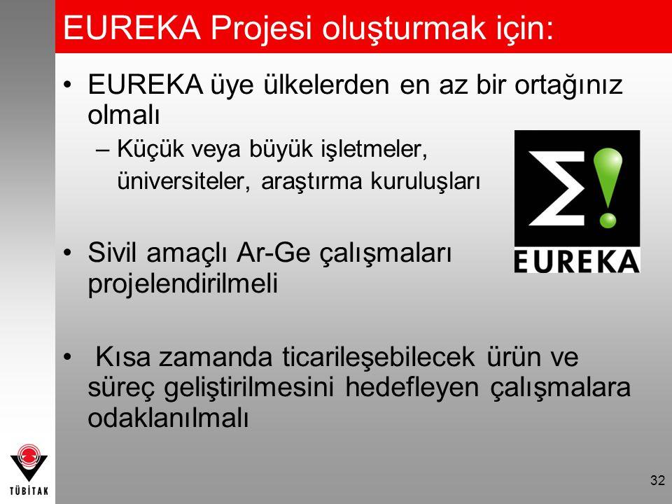 EUREKA Projesi oluşturmak için: