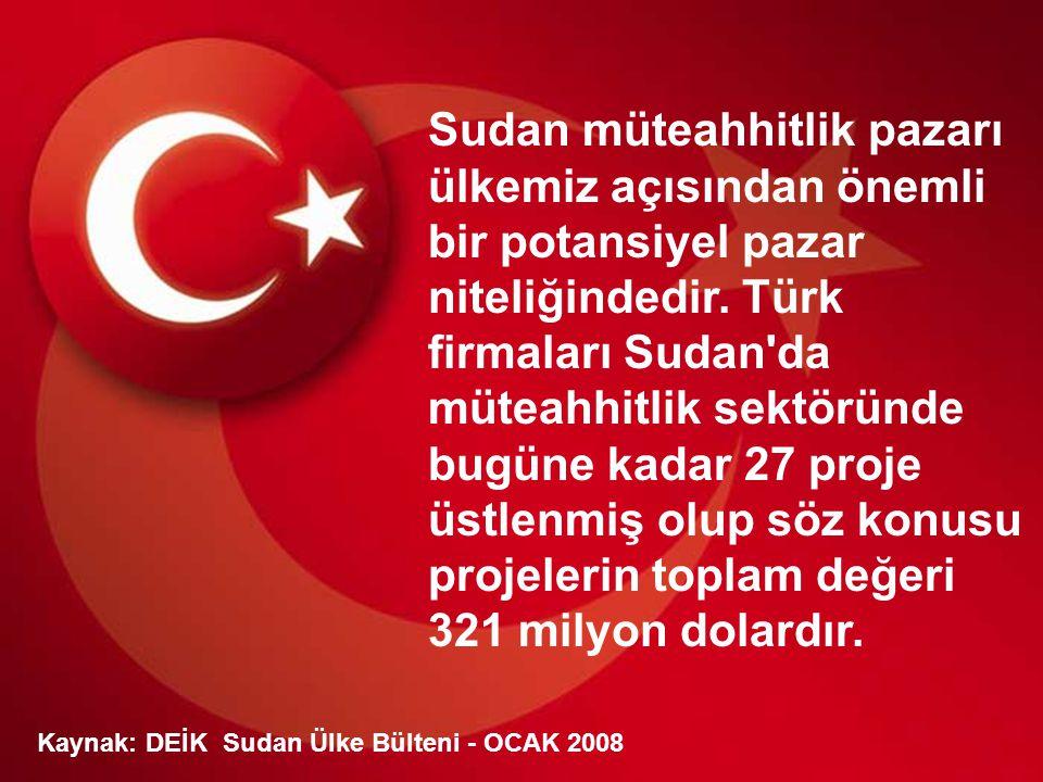 Sudan müteahhitlik pazarı ülkemiz açısından önemli bir potansiyel pazar niteliğindedir. Türk firmaları Sudan da müteahhitlik sektöründe bugüne kadar 27 proje üstlenmiş olup söz konusu projelerin toplam değeri 321 milyon dolardır.