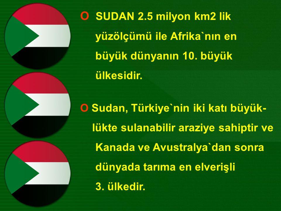 Ο SUDAN 2.5 milyon km2 lik yüzölçümü ile Afrika`nın en