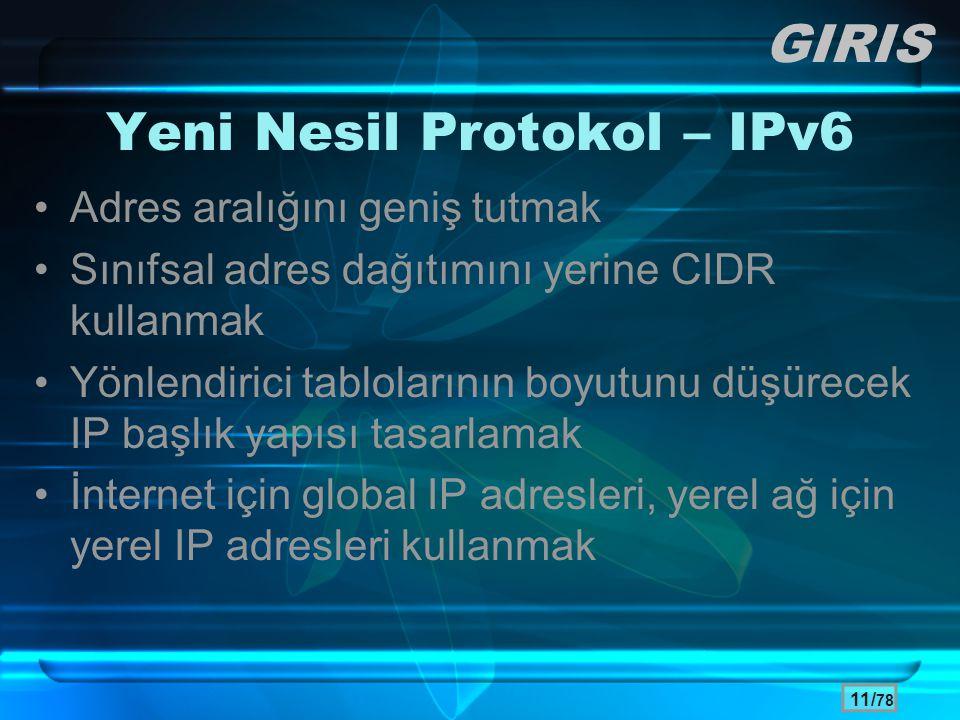 Yeni Nesil Protokol – IPv6