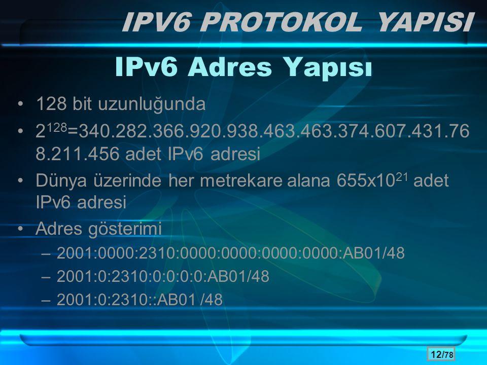 IPV6 PROTOKOL YAPISI IPv6 Adres Yapısı 128 bit uzunluğunda