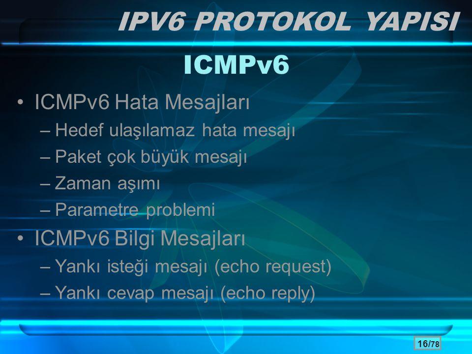 IPV6 PROTOKOL YAPISI ICMPv6 ICMPv6 Hata Mesajları