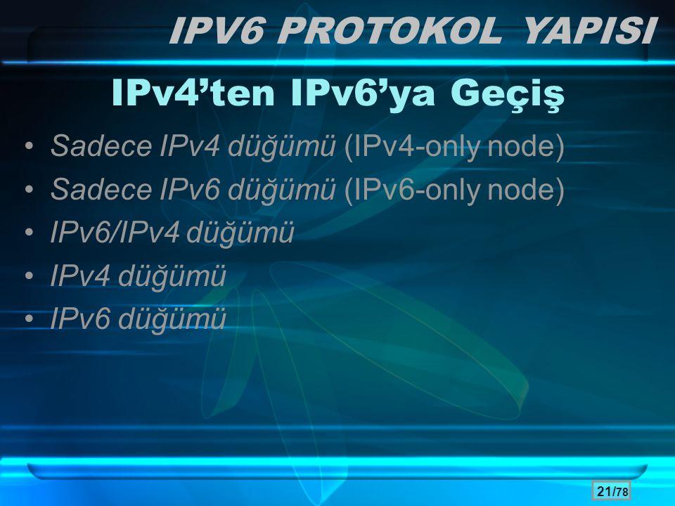 IPV6 PROTOKOL YAPISI IPv4'ten IPv6'ya Geçiş