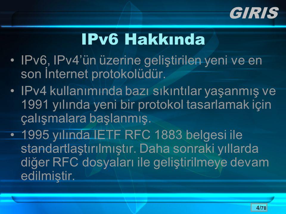 GIRIS IPv6 Hakkında. IPv6, IPv4'ün üzerine geliştirilen yeni ve en son İnternet protokolüdür.