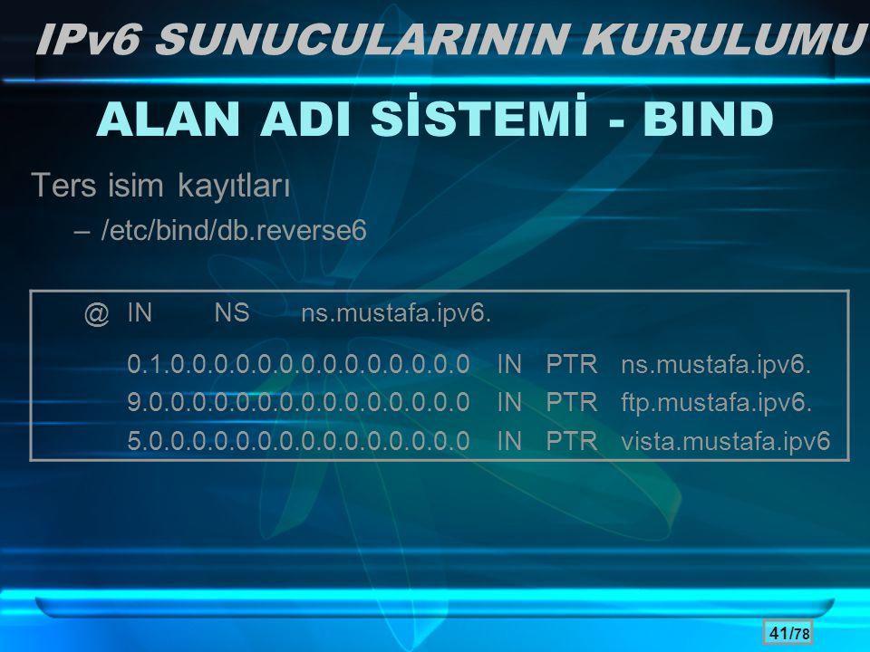 ALAN ADI SİSTEMİ - BIND IPv6 SUNUCULARININ KURULUMU