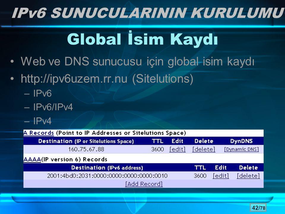 Global İsim Kaydı IPv6 SUNUCULARININ KURULUMU