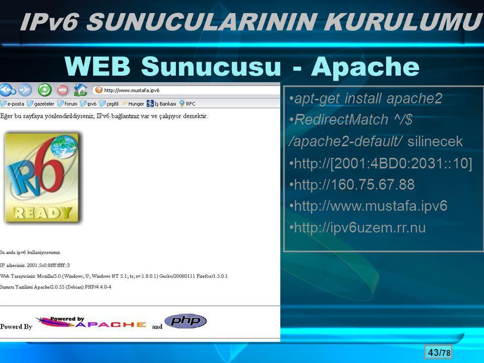 WEB Sunucusu - Apache IPv6 SUNUCULARININ KURULUMU