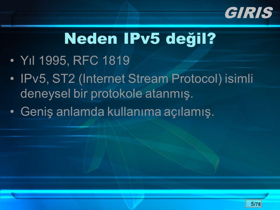 GIRIS Neden IPv5 değil Yıl 1995, RFC 1819